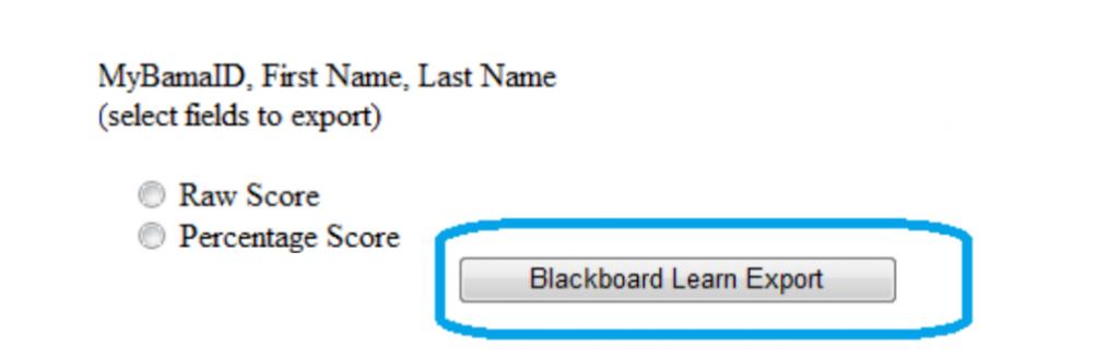 Blackboard Learn Export Button is below settings