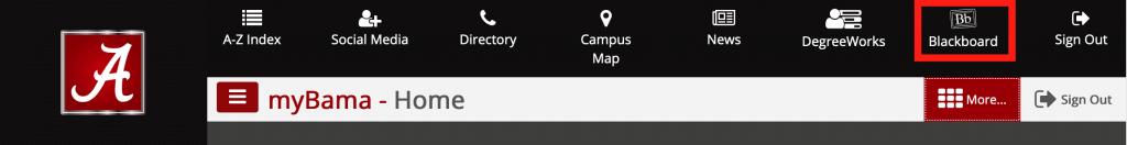 Top menu bar in MyBama showing More...button and Blackboard button