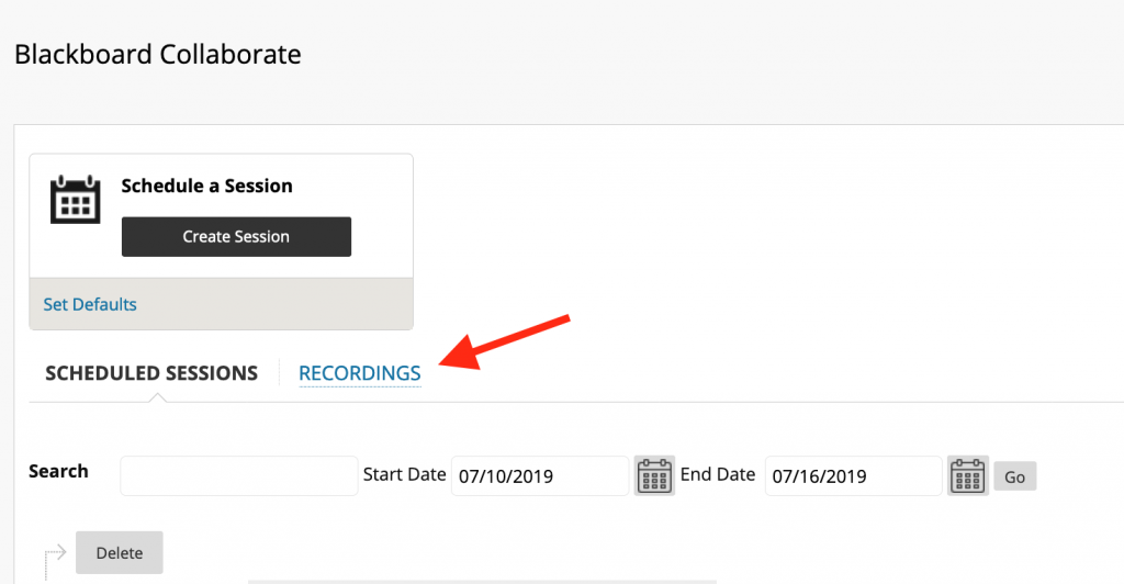 Recordings Tab next to Scheduled Sessions