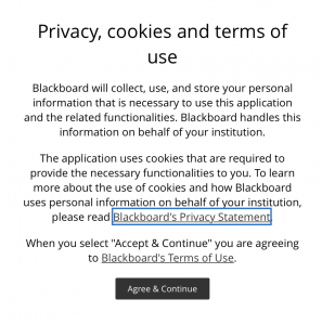 Blackboard Privacy Notice click-through