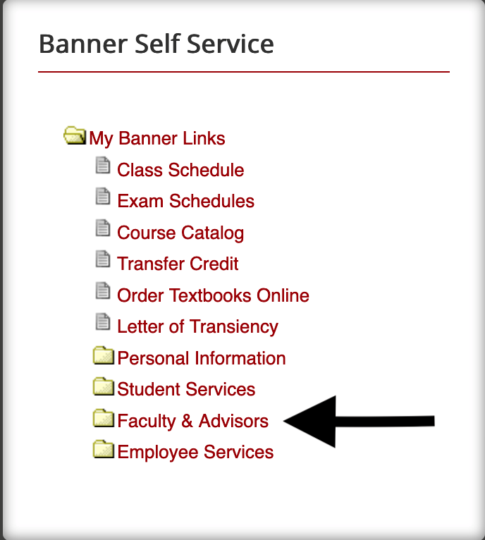 Faculty and Advisors Link in Banner Self Service