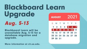 Blackboard Learn unavailable Aug 5-13